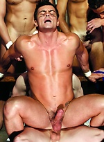 Hot athletes Rob Romoni, Josh Weston, Cal Jackson, Jason Hawke, Andy Hunter, Tyler Gunn and Maxx Diesel gay groupsex scene