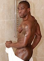 Hot ebony athlete Don at the shower room
