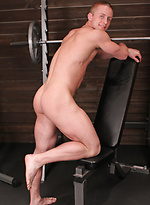 Horny athlete Abe workout and jacking off