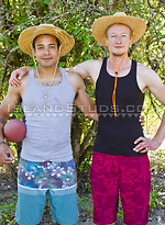 """Football Nude #14: First Time Bromance! Beefy Levaughn & Tall 6'4"""" Christian Pose, Pee Together & Sweat in Hot Duo Action!"""